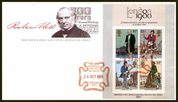 view larger back view image for Rowland Hill minisheet on an UNADDRESSED official Post Office FDC cancelled with a NATIONAL POSTAL MUSEUM - LONDON EC1 handstamp in Red dated 24 OCT 1979