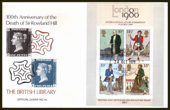view larger back view image for Rowland Hill minisheet on an UNADDRESSED BRITISH LIBRARY OFFICIAL (cover No.11a) FDC cancelled with a BRITISH LIBRARY handstamp