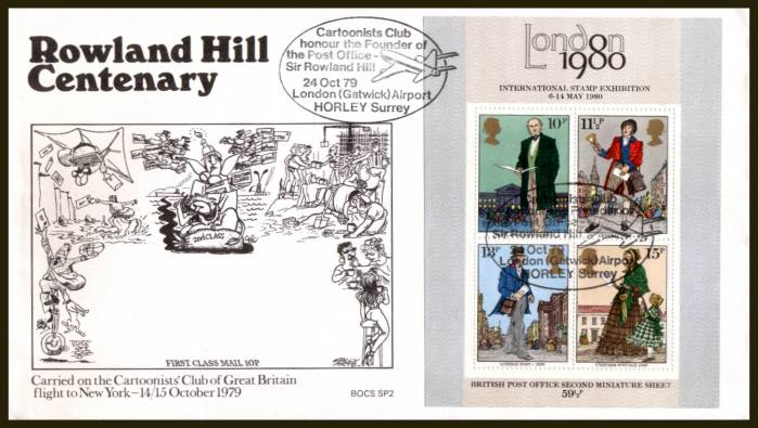 view larger back view image for Rowland Hill minisheet on an UNADDRESSED Benham FDC cancelled with the special handstamp for the CARTOONIST CLUB - LONDON GATWICK - HORLEY SURREY 