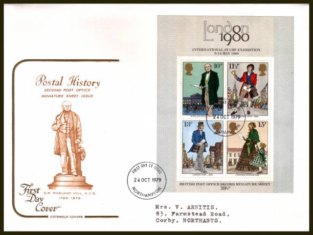 view larger back view image for Rowland Hill minisheet on a neatly typed addressed Cotswold  FDC cancelled with a
