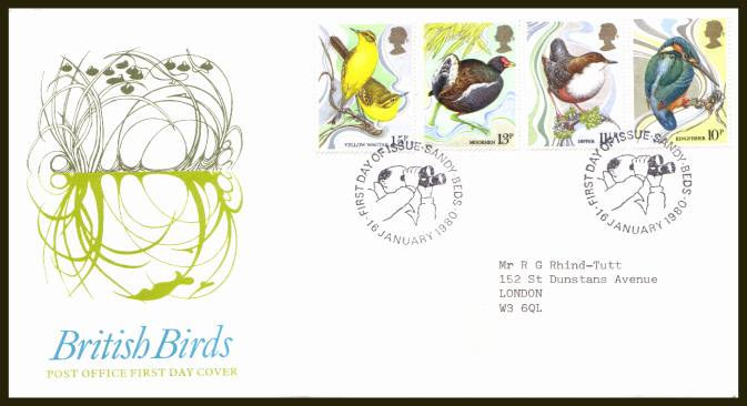 view larger back view image for British Birds set of four on official neatly typed addressed Royal Mail FDC cancelled with two strikes of the  SANDY - BEDS alternative cancel  