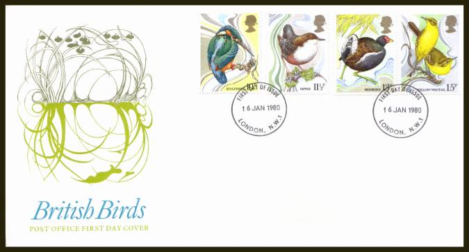 view larger back view image for British Birds set of four on official unaddressed Royal Mail FDC cancelled a 