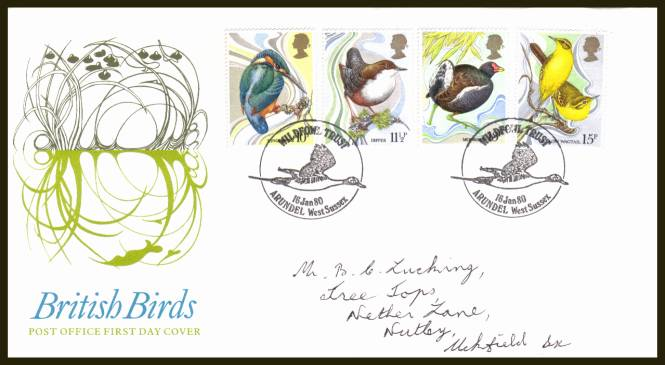view larger back view image for British Birds set of four on official hand addressed Royal Mail FDC cancelled with two strikes of a WILDFOWL TRUST - ARUNDEL - WWEST SUSSEX handstamp.