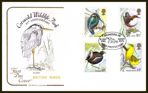view larger back view image for British Birds set of four on an unaddressed Cotswold FDC cancelled with a 