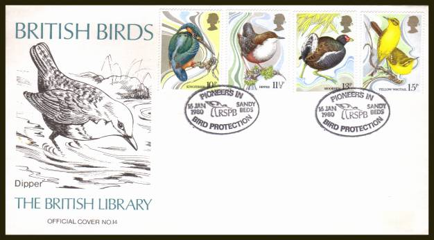 view larger back view image for British Birds set of four on an unaddressed (label removed) British Library  FDC (Number 14) cancelled a SANDY - BEDS 