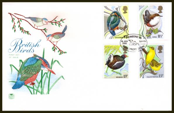 view larger back view image for British Birds set of four on an unaddressed Stuart FDC cancelled a SANDY - BEDS
