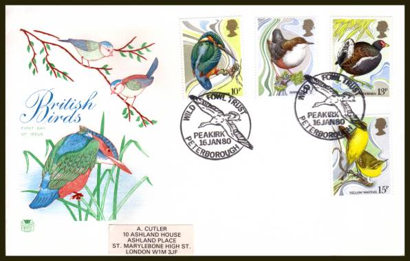 view larger back view image for British Birds set of four on a label addressed Stuart FDC cancelled a 