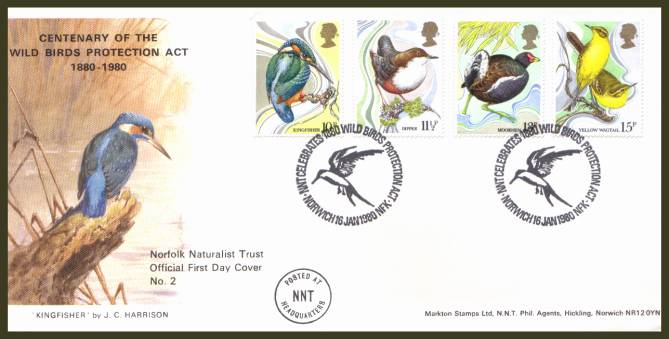 view larger back view image for British Birds set of four on an unaddressed Markton (Norfolk Naturalist Trust Official FDC No 2) FDC cancelled two strikes of a  NNT CELEBRATES 1880 WILDBIRD PROTECTION ACT - NORWICH - 