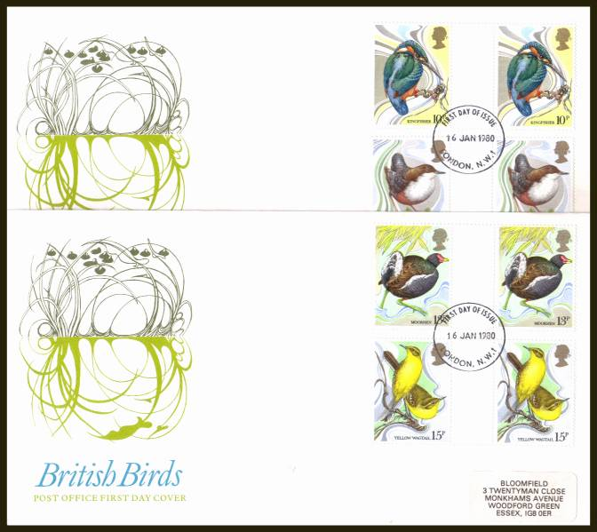 view larger back view image for British Birds set of four in GUTTER PAIRS on two label addressed official Post Office FDC's each cancelled with a single strike of the LONDON N.W.1 FDI cancel dated 16 JAN 1980.
