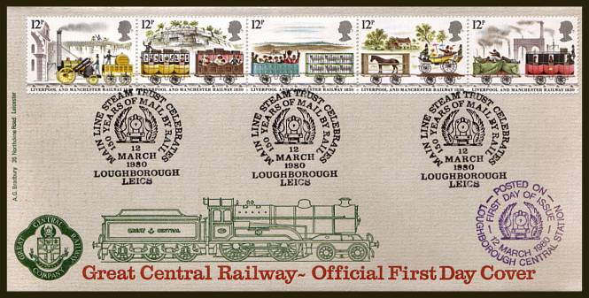 view larger back view image for 150th Anniversary of Liverpool and Manchester Railway strip of five on an UNADDRESSED Bradbury FDC cancelled with three strikes of the MAIN LINE STEAM TRUST - LOUGHBOROUGH handstamp dated 12 MARCH 1980