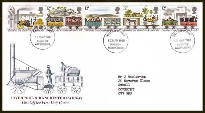 view larger back view image for 150th Anniversary of Liverpool and Manchester Railway strip of five on an official typed addressed Royal Mail FDC cancelled with the NUNEATON - WARWICKSHIRE