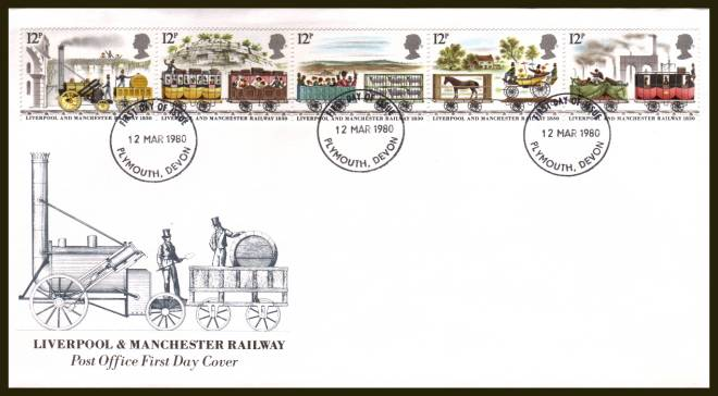 view larger back view image for 150th Anniversary of Liverpool and Manchester Railway strip of five on an official unaddressed Royal Mail FDC cancelled with the 