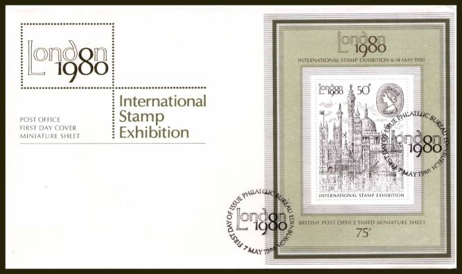 view larger back view image for ''London 1980'' minisheet on an UNADDRESSED (label removed) official Royal Mail FDC cancelled with a strike of the PHILATELIC BUREAU - EDINBURGH handstamp cancel dated 7 MAY 1980