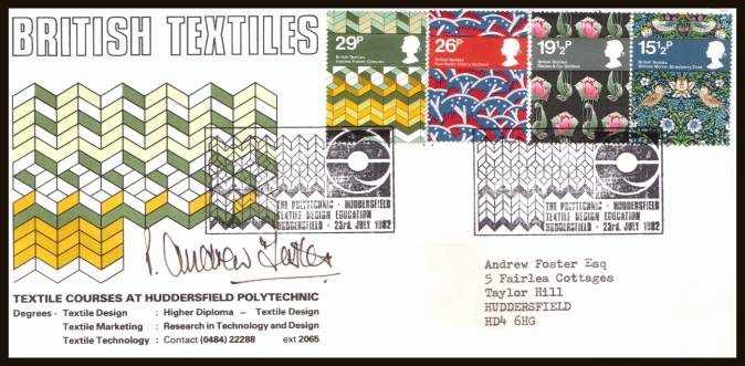 view larger back view image for British Textiles set of four on a label addressed OFFICIAL Huddersfield Polytechnic FDC cancelled with two strikes of the rare TEXTILE DESIGN EDUCATION handstamp autographed and addressed to the 29p stamp, Cover and Handstamp designer Andrew Forster.Rare!
