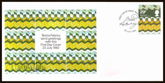 view larger back view image for British Textiles 29p single on a TEXTRA FABRICS FDC cancelled with a ROCHDALE handstamp dated 23 JULY 1982. A very rare FDC that appears to be unrecorded with insert and autographed by the designer ANDREW FOSTER.