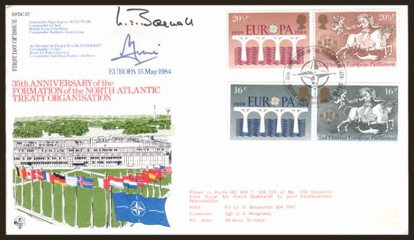 view larger back view image for EUROPA - Bridges set of four on label removed unaddressed  Forces autographed FDC cancelled with a