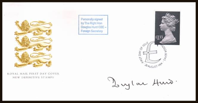 view larger back view image for £1.33 Pale Mauve and Grey-Black Machin High Value single on an unaddressed Royal Mail official FDC cancelled with a WINDSOR - BERKS handstamp dated 28 AUG 1984. Autographed by the then Foreign Secretary DOUGLAS HURD