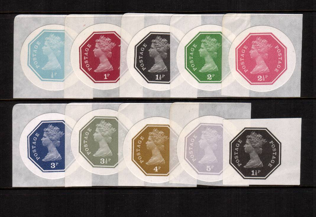 view larger image for  (1974) - The famous SELF ADHESIVE POSTALLY VALID  forerunners complete set of nine  produced by the famous dealer DEREK WORBOYS. This is the third series - circular labels - with the bonus of a 1�d value on paper. A very rare, seldom seen set.