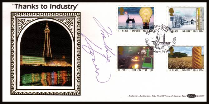 view larger back view image for Industry Year set of four on an Benham FDC cancelled with a special 