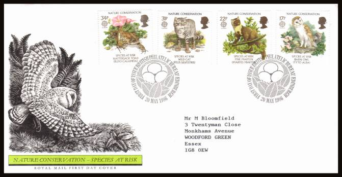 view larger back view image for EUROPA - Nature Conversation set of four on a neatly typed addressed official Royal Mail FDC cancelled with two strikes of the PHILATELIC BUREAU - EDINBURGH