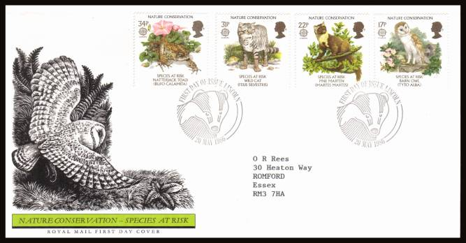 view larger back view image for EUROPA - Nature Conversation set of four on a neatly typed addressed official Royal Mail FDC cancelled with two strikes of the alternative handstamp for LINCOLN