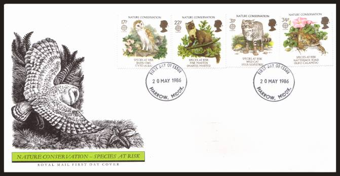view larger back view image for EUROPA - Nature Conversation set of four on an unaddressed official Royal Mail FDC cancelled with two strikes of the HARROW - MIDDX