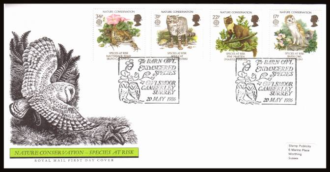 view larger back view image for EUROPA - Nature Conversation set of four on an unaddressed (tiny label) official Royal Mail FDC cancelled with two strikes of the 
