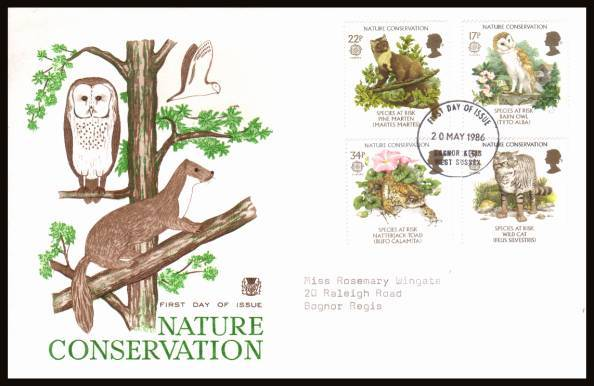 view larger back view image for EUROPA - Nature Conversation set of four on a neatly typed addressed Stuart  FDC cancelled with a BOGNOR REGIS - WEST SUSSEX