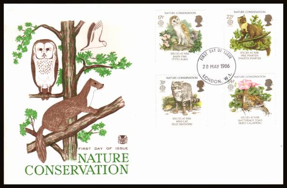 view larger back view image for EUROPA - Nature Conversation set of four on an unaddressed Stuart FDC cancelled with a LONDON W.1 FDI cancel