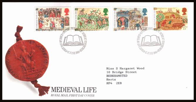 view larger back view image for Medieval Life - Domesbook set of four on a neatly typed addressed official Post Office FDC cancelled with a PHILATELIC BUREAU - EDINBURGH