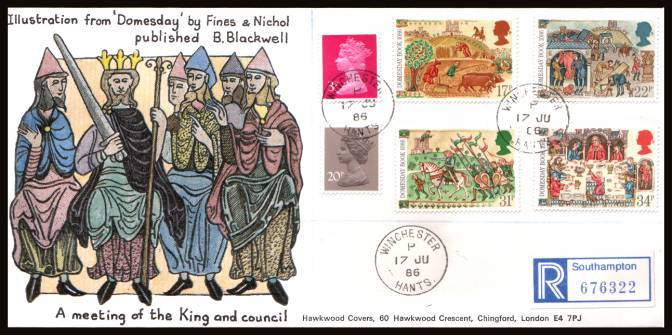 view larger back view image for Medieval Life - Domesbook set of four on an unaddressed REGISTERED Hawkswood FDC cancelled with three strikes of a WINCHESTER steel CDS  
