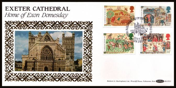 view larger back view image for Medieval Life - Domesday Book set of four on an unaddressed Benham ''Silk'' FDC cancelled with a strike of the 900th ANNIVERSARY OF THE DOMESDAY BOOK - EXETER - DEVON handstamp dated 17 JUNE 1986. BLCS13