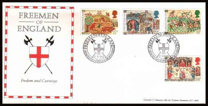 view larger back view image for Medieval Life - Domesday Book set of four on an unaddressed OFFICIAL Bradbury FDC cancelled with two strikes of the FREEMAN OF ENGLAND - OSWESTRY - SHROPSHIRE handstamp dated 17 JUNE 1986.