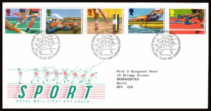 view larger back view image for Sport - Commonwealth Games set of five on a neatly typed official Royal Mail FDC cancelled with three strikes of the