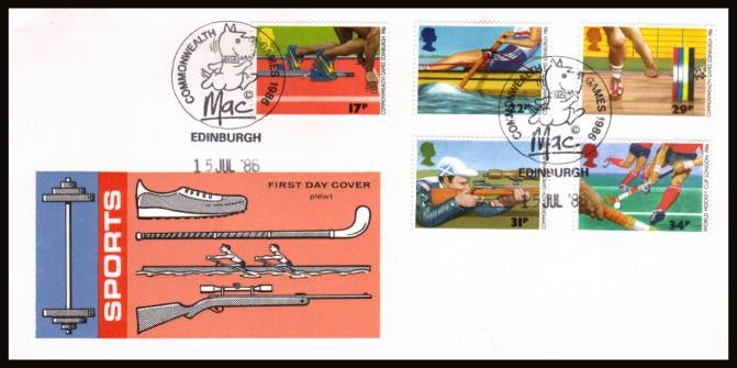 view larger back view image for Sport - Commonwealth Games set of five on an unaddressed Philart FDC cancelled with two strikes of the special COMMONWEALTH GAMES 1986 - MAC - EDINBURGH