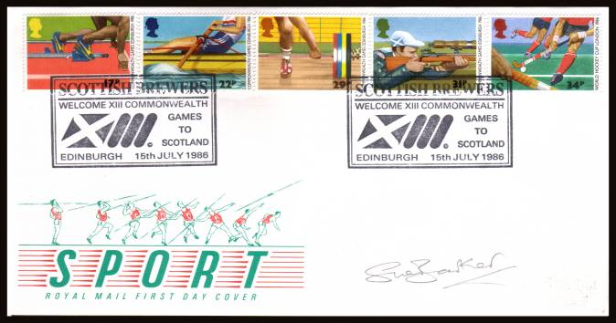 view larger back view image for Sport - Commonwealth Games set of five on an unaddressed official Royal Mail FDC cancelled with two strikes of the