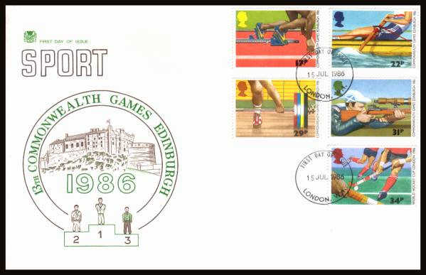 view larger back view image for Sport - Commonwealth Games set of five on an unaddressed Stuart FDC