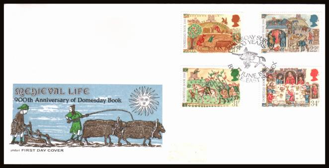 view larger back view image for Medieval Life - Domesbook set of four on an unaddressed (label removed) Philart  FDC cancelled with the special cancel for 900 YEARS - DOMESDAY SURVEY -