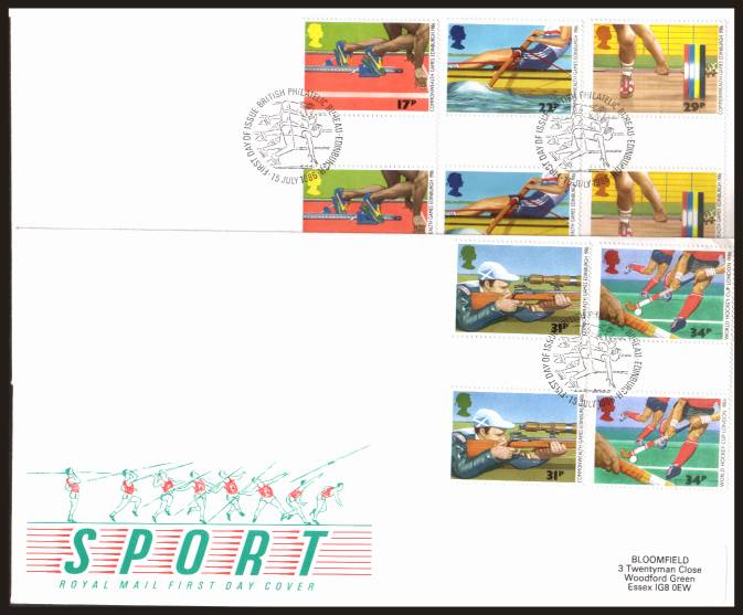 view larger back view image for Sport - Commonwealth Games set of five in GUTTER PAIRS on two label addressed Royal Mail FDC's each cancelled with the PHILATELIC BUREAU - EDINBURGH handstamp cancel dated 15 JULY 1986