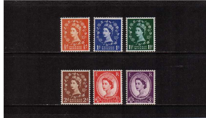 view larger image for SG 561-566 (1957) - Elizabeth II <br/>Wilding - Graphite Lines <br/>Definitive set of six
