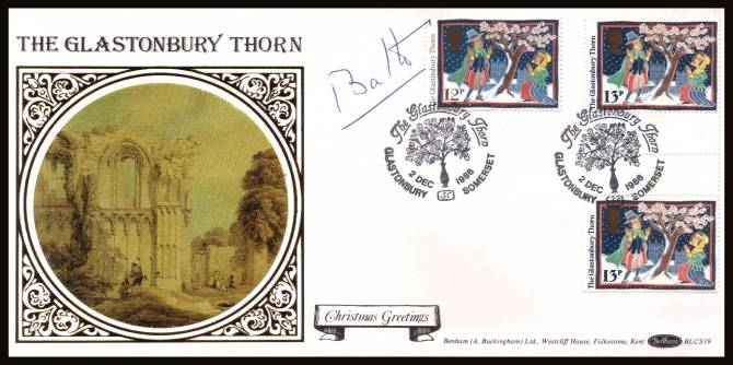 view larger back view image for Christmas - Folk Customs. The 12p single plus 13p gutter pair - central perforations ex stamp pack of 13p x36 issued the same day on a Benham ''Silk'' FDC cancelled with a GLASTONBURY THORN - SC - GLASTONBURY dated 2 DEC 1986. Autographed by Lord Bath