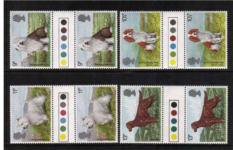 view larger back view image for Dogs set of four <br/>in unfolded 'Traffic Light' gutter pairs superb unmounted mint.