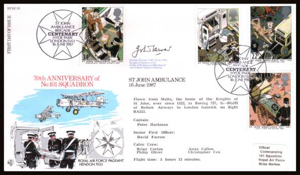 view larger back view image for St John Ambulance set of four on an addressed RAF Museum  FDC cancelled with  ST JOHN AMBULANCE BRIGADE - HYDE PARK - LONDON SW1
