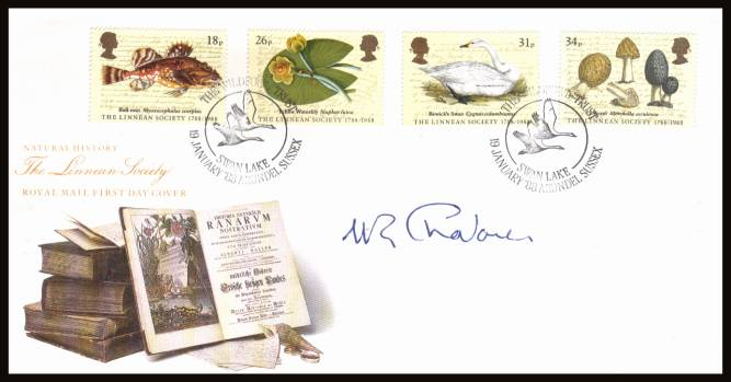 view larger back view image for Linnean Society set of four on official unaddressed Royal Mail FDC cancelled with a handstamp for WILDFOWL TRUST - SWAN LAKE - ARUNDEL - SUSSEX dated 19 JANUARY '88. The cover has been autographed by W. R. CHALLENOR the the President of the society.
