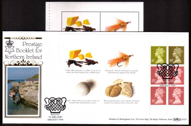 view larger back view image for Northern Ireland Machin booklet pane showing IMPERFORATE labels at left on a Benham ''Silk'' FDC cancelled with a special handstamp for BELFAST - N. IRELAND dated 26th JULY 1994