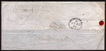 view larger back view of image for 4d Sage-Grren from Plate 15 lettered ''H-K'' with 1d Red from Plate 189 lettered ''H-J'' cancelled with a LONDON duplex dated 12 JY 77 on part entire to MONTREAL backstamped JU 22 77. SG Cat for 4d as a stamp �325