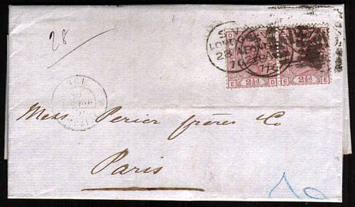 view larger front view of image for 2�d Rosy Mauve - Blued Paper - Pair from Plate 1 lettered ''E-D'' to ''E-E'' on a complete entire cancelled with a LONDON duplex dated 28 AP 76 to PARIS arriving 29 AP 76. Scarce Blued paper entire.