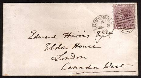 view larger front view of image for 6d Deep Lilac cancelled with a LONDON S.W. 25 duplex dated JA 8 63 addressed to LONDON - CANADA WEST !! Backstamped HAMILTON JA 22 1863. A superb bright and fresh, small neat envelope! Superb!