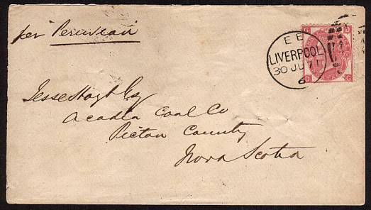 view larger front view of image for 3d Rose from Plate 6 lettered ''D-G'' cancelled with a LIVERPOOL duplex crisply dated 30 JU 71 to NOVA SCOTIA backstamped STELLARTON (pop in 1871 1750) JY 13 71. Stunning quality cover.