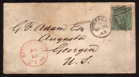 view larger front view of image for 1/- Deep Green from Plate 4 lettered ''K-A'' cancelled with a SHEFFIELD duplex dated MR 30 67 to AUGUSTA - GEORGIA - USA also showing a BOSTON arrival mark. A lovely small, neat envelope with no creasing.